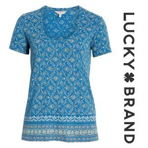 Lucky Brand Floral Print Border Tee